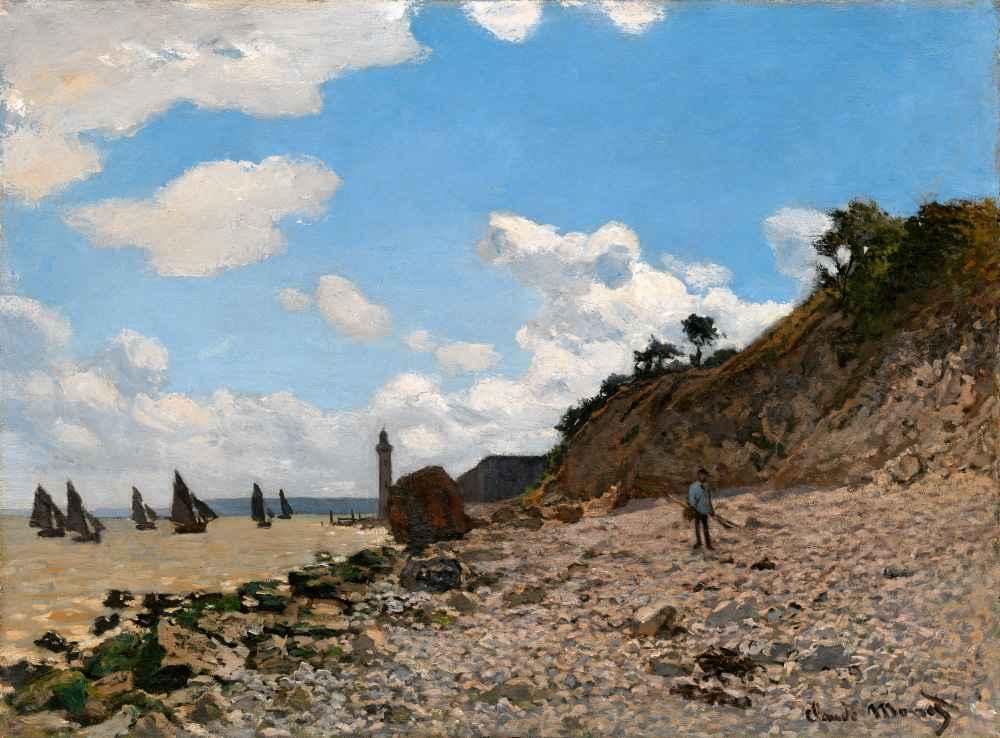 The Beach at Honfleur - Claude Monet