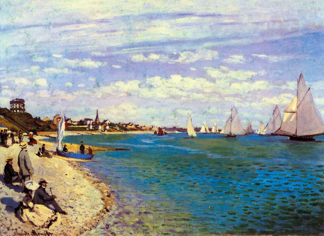 The Beach at Sainte Adresse - Monet