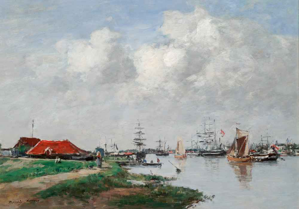 The Escaut River in Antwerp - Eugene Boudin