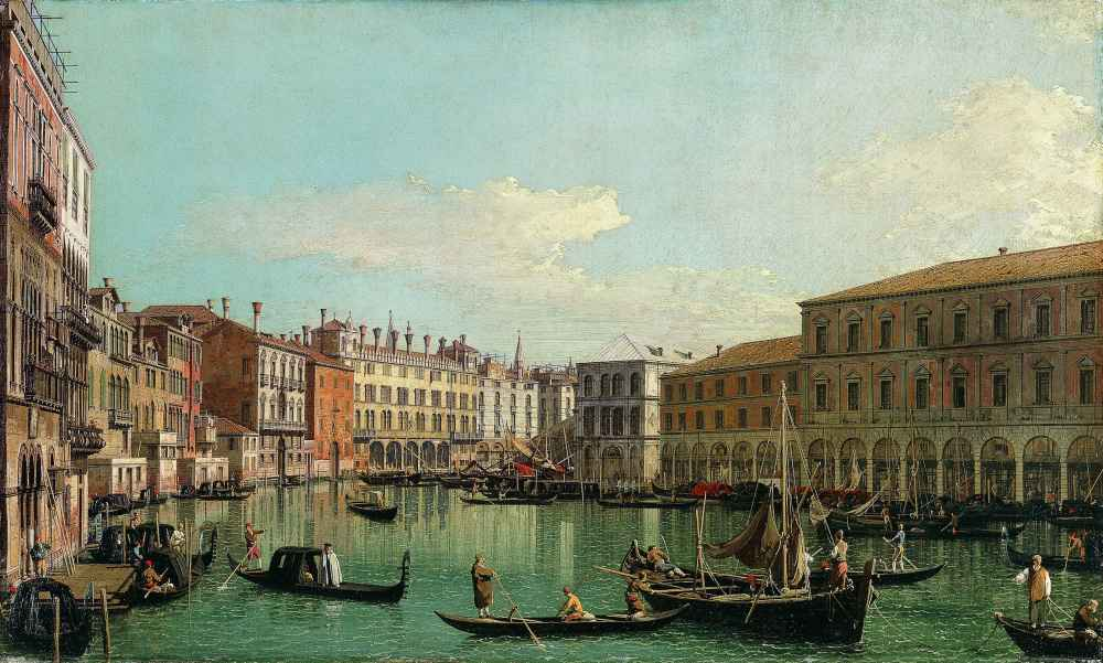 The Grand Canal, Venice, Looking South toward the Rialto Bridge - Cana