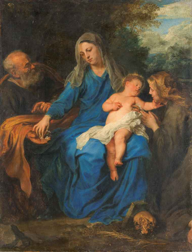 The Holy Family with a Female Saint in Adoration - Antoon van Dyck