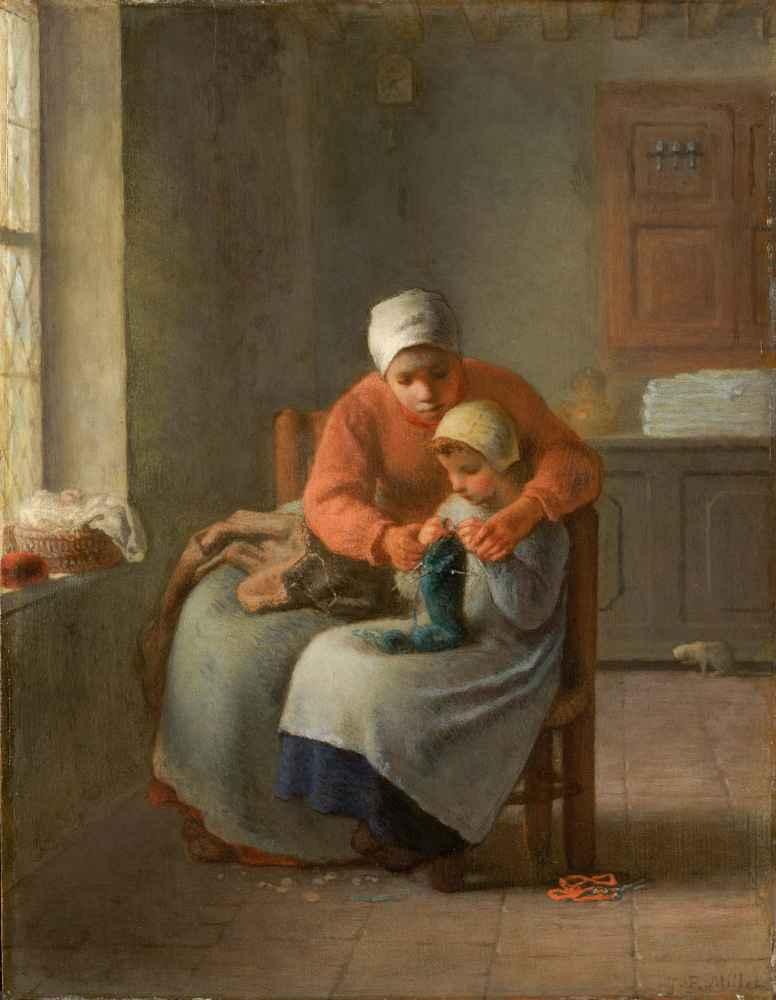 The Knitting Lesson - Jean Francois Millet