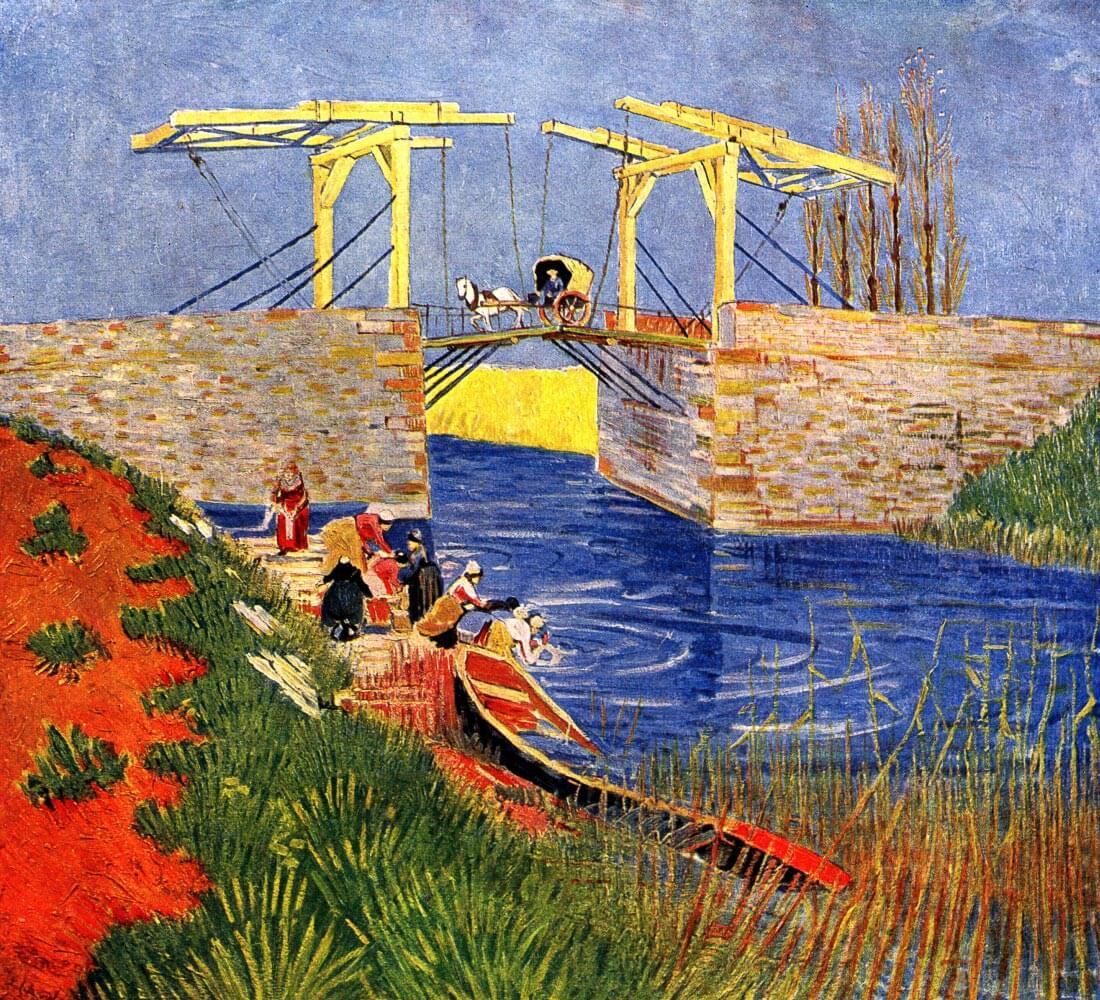 The Langlois Bridge at Arles with Women Washing - Van Gogh