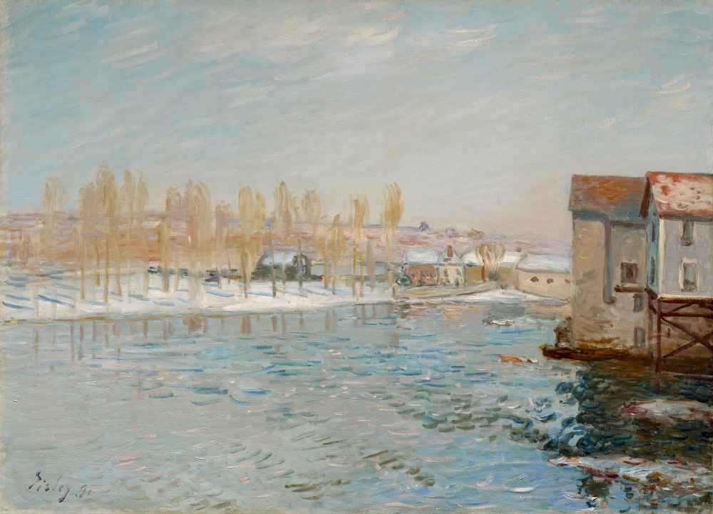 The Loing and the Mills of Moret, Snow Effect - Alfred Sisley