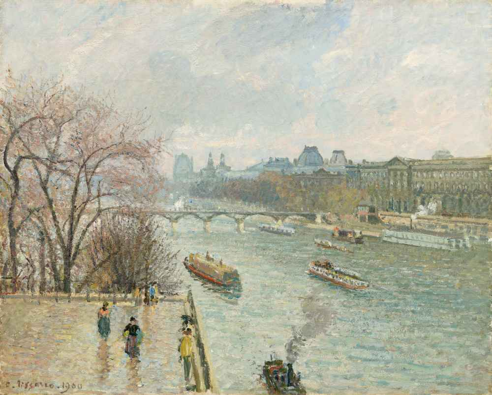 The Louvre, Afternoon, Rainy Weather - Camille Pissarro