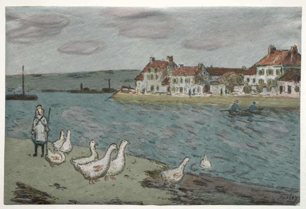 The River Bank or Geese - Alfred Sisley