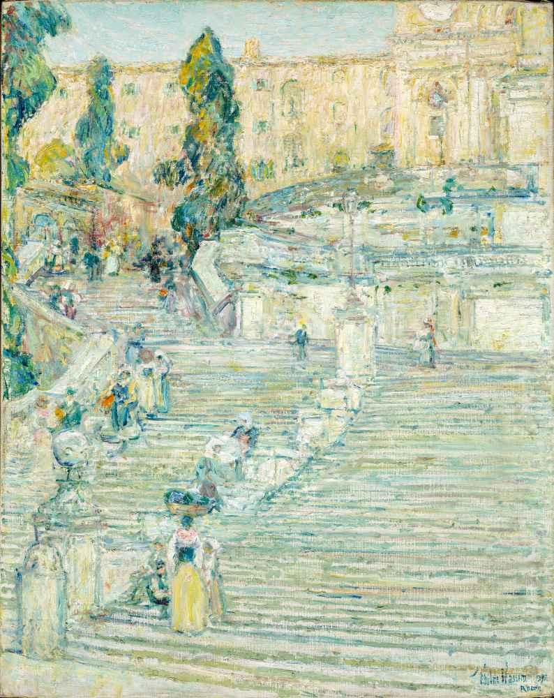 The Spanish Stairs, Rome - Childe Hassam