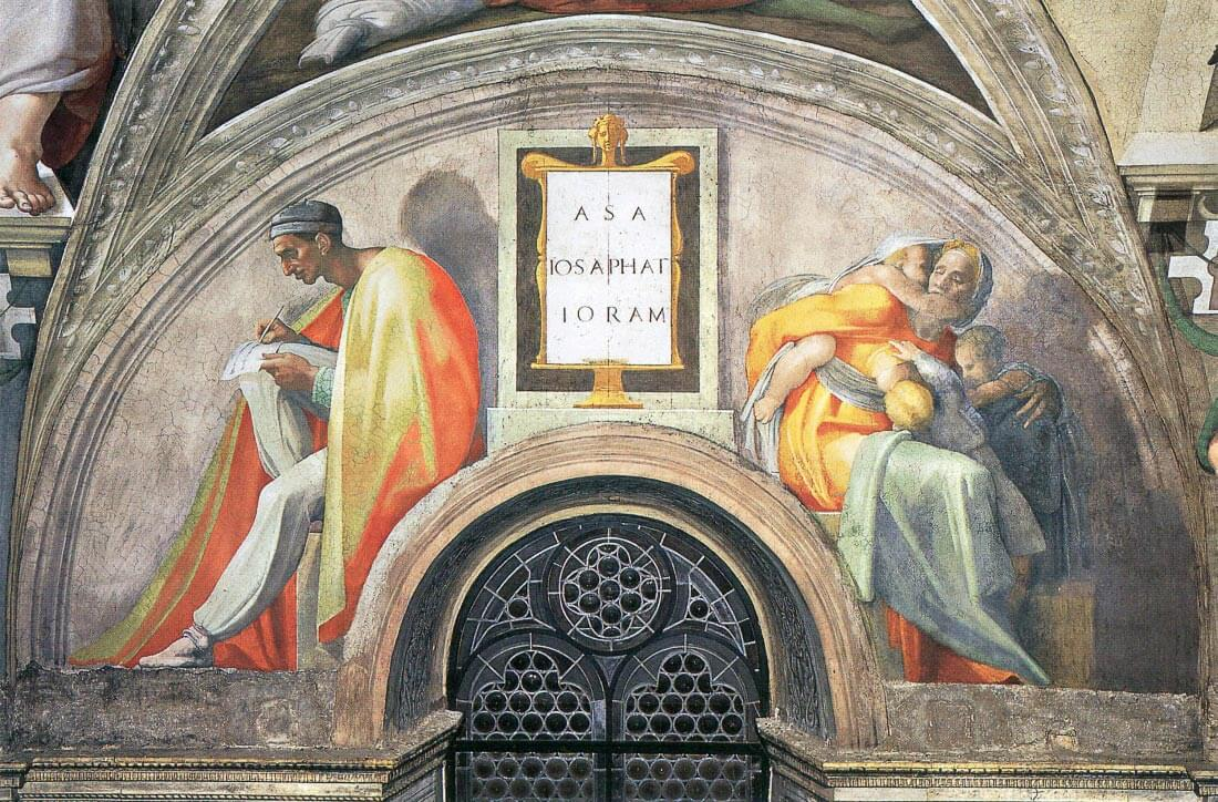 The ancestors of Christ- Asa, Josaphat, Joram - Michelangelo
