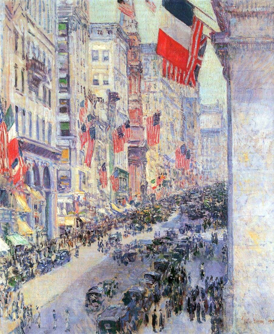The avenue along 34th Street, May 1917 - Hassam