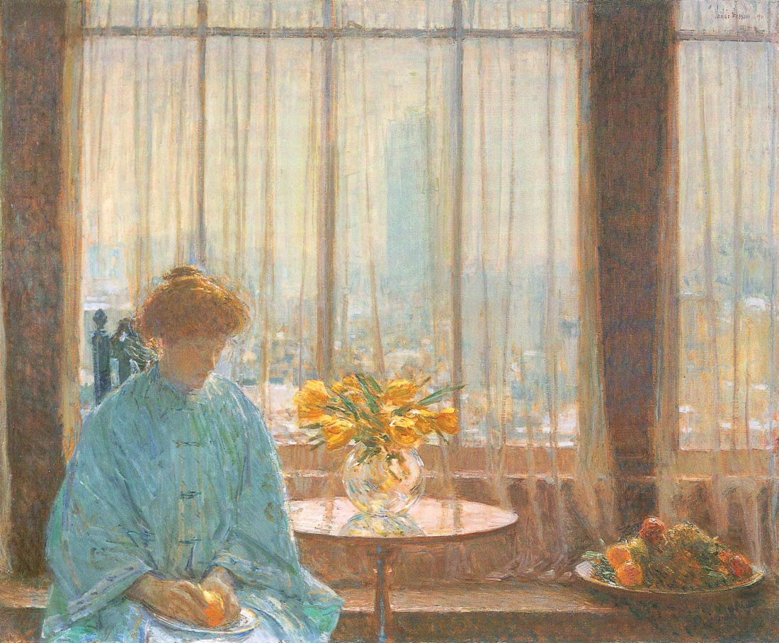 The breakfast room, winter morning - Hassam