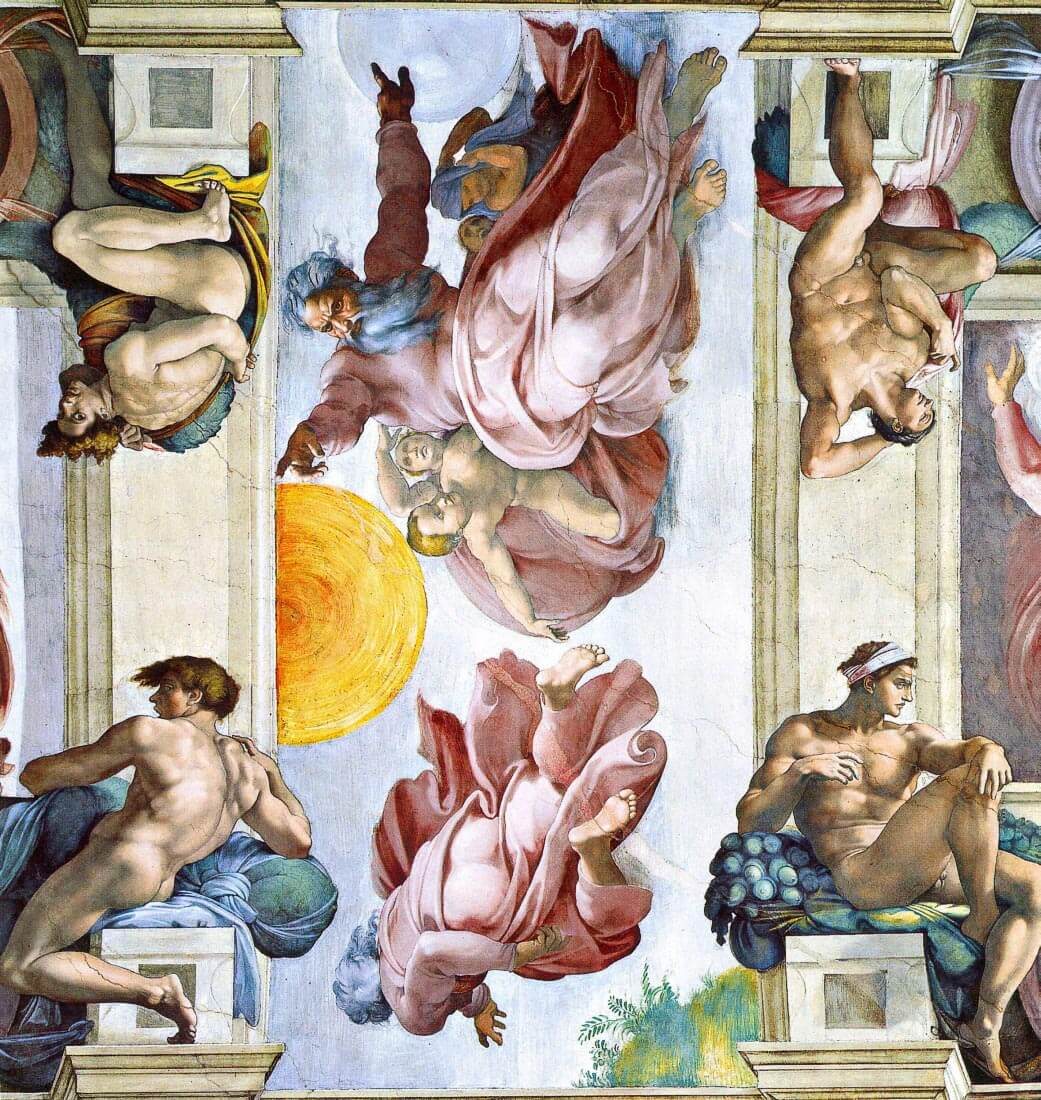 The creation of sun, moon and stars - Michelangelo