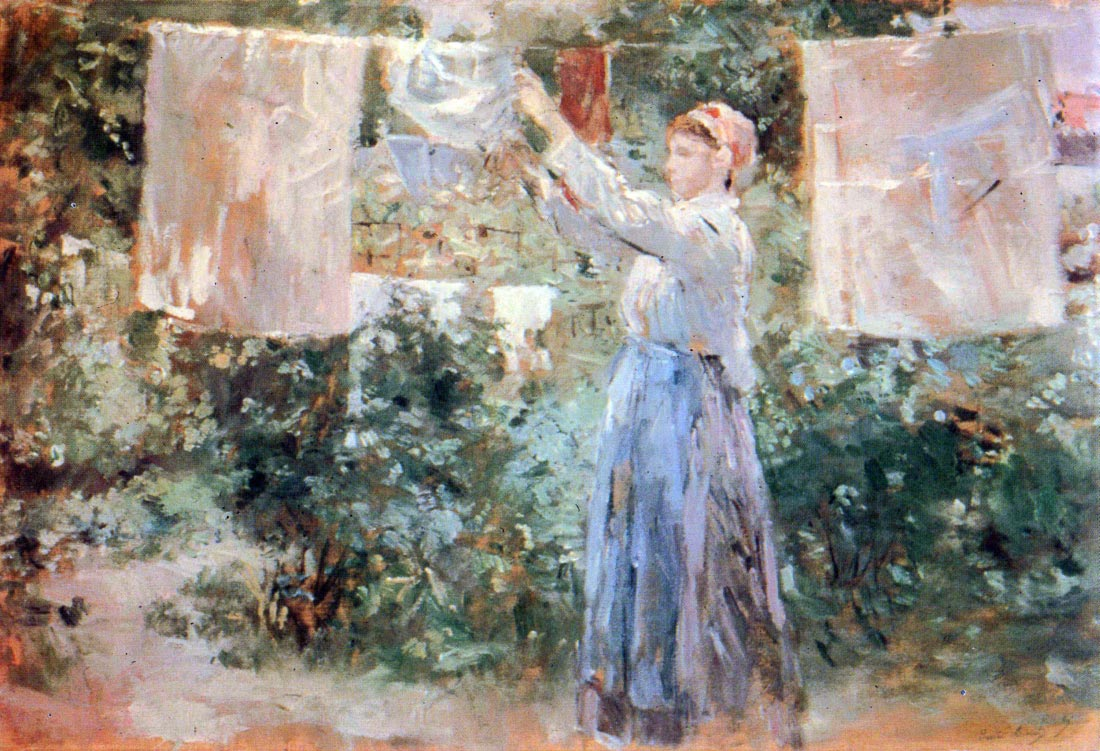 The farmer hanging laundry - Morisot