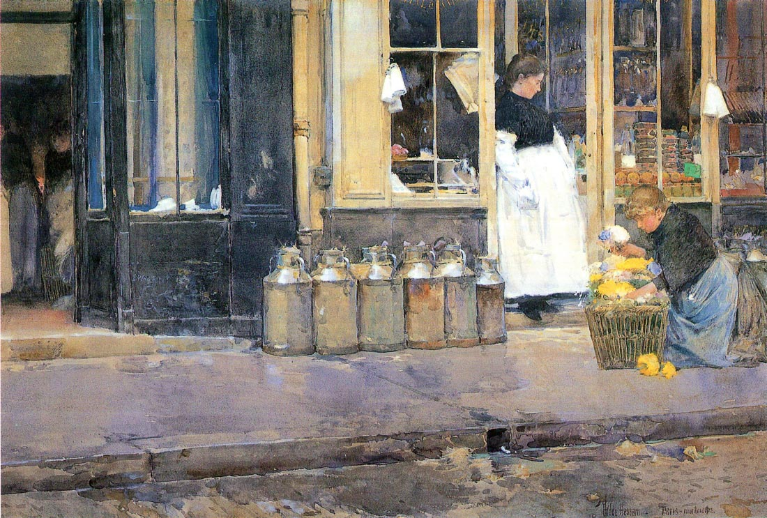 The flower girls and the milk vendor - Hassam
