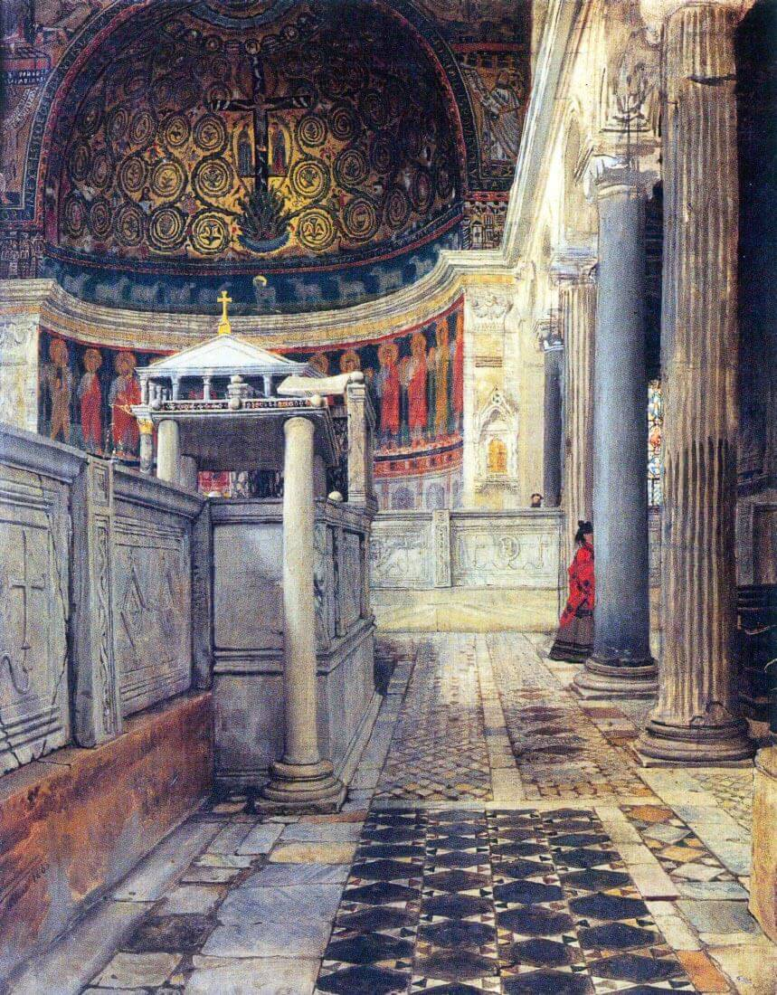 The interior of the church of San Clemente, Rome - Alma-Tadema