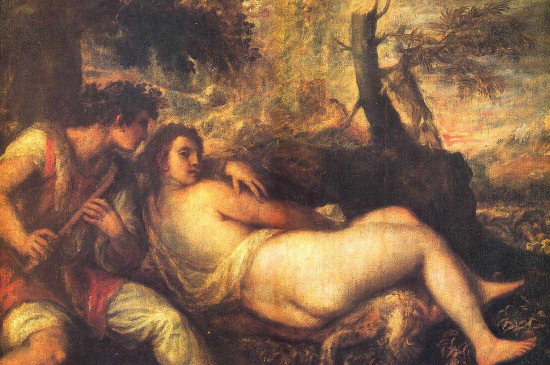 The nyph and the herder - Titian