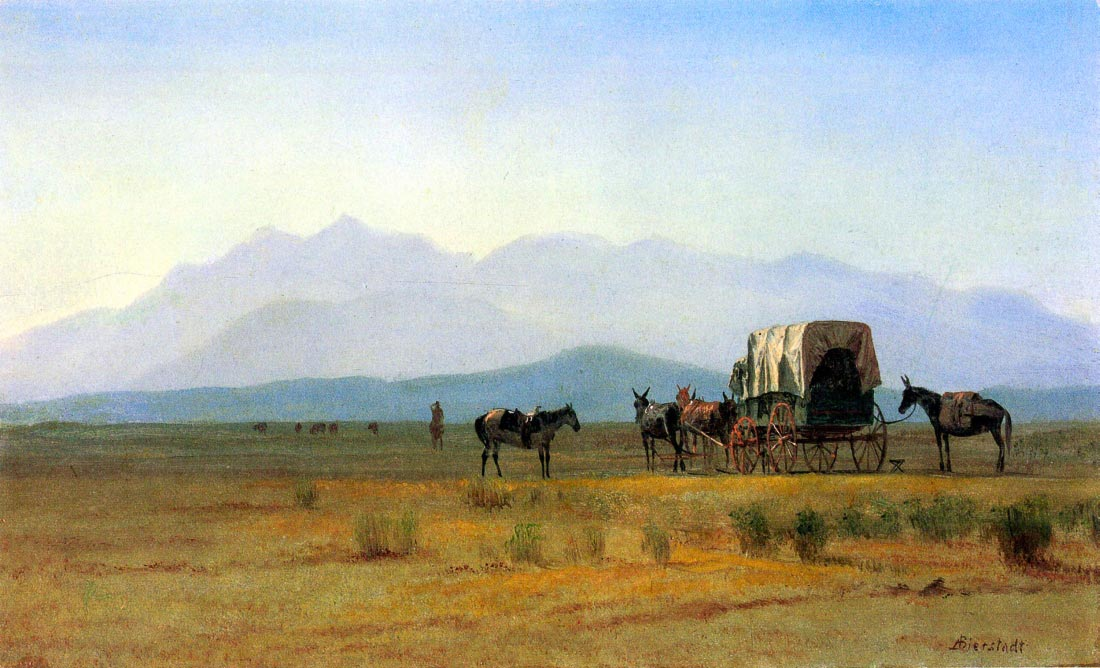 The stagecoach in the Rockies - Bierstadt