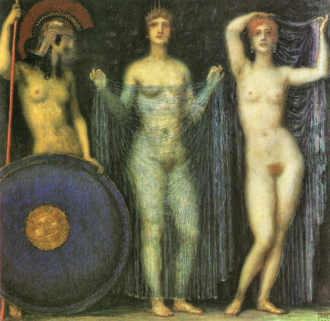 The three Goddesses Athena, Hera and Aphrodite - Franz von Stuck