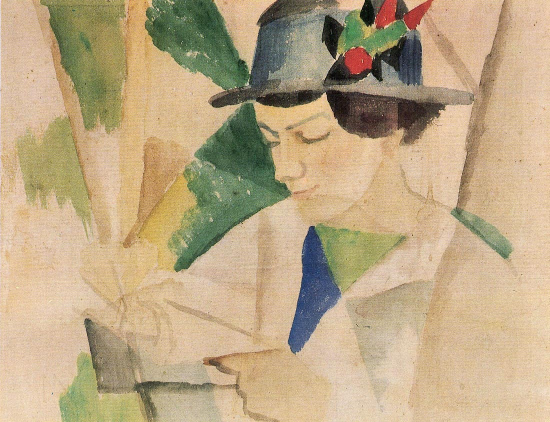 The wife of the painter, reading - August Macke