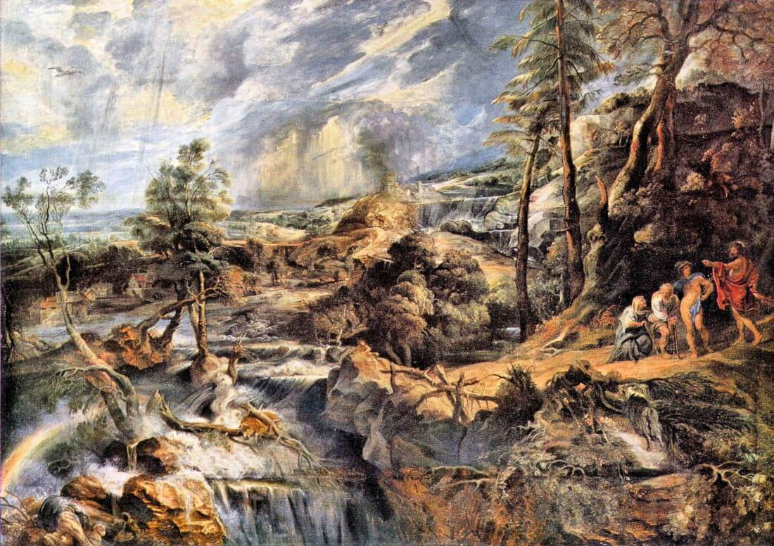 Thunderstorms landscape with Philemon and Baucis - Rubens