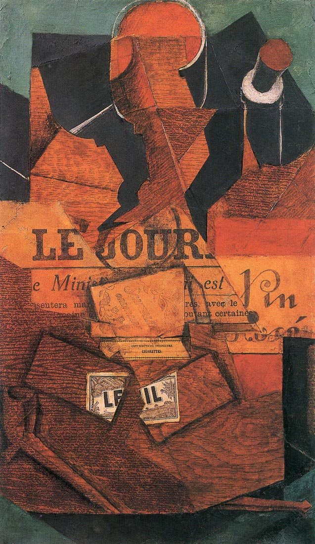 Tobacco, newspaper and wine bottle - Juan Gris