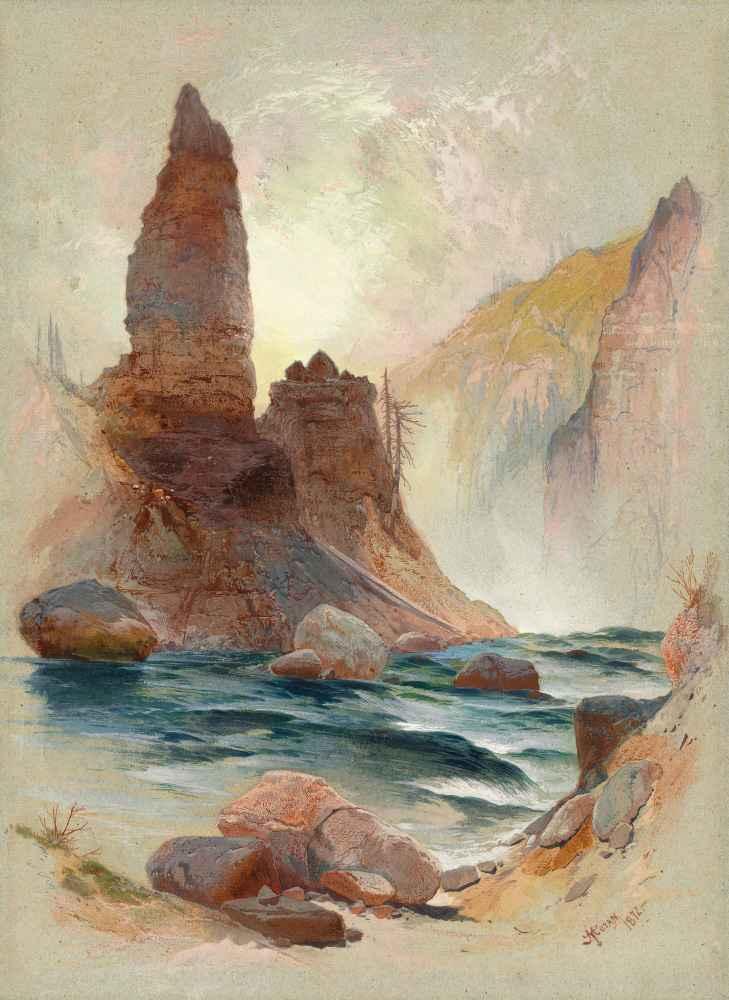 Tower at Tower Falls, Yellowstone - Thomas Moran