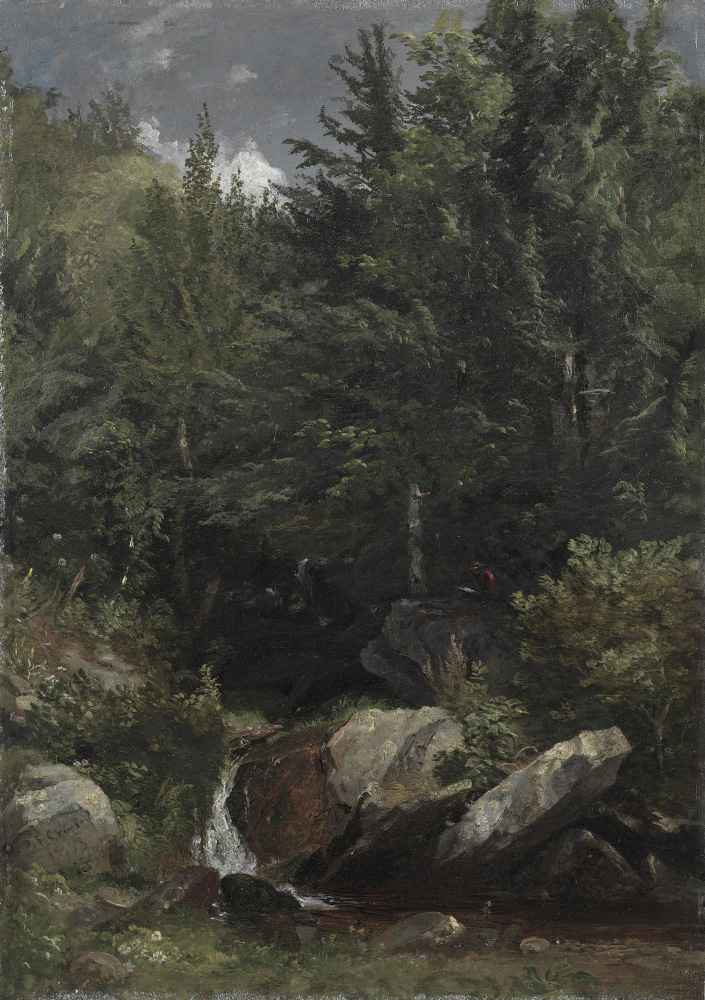 Trees and a Stream on a Hillside - Jasper Francis Cropsey