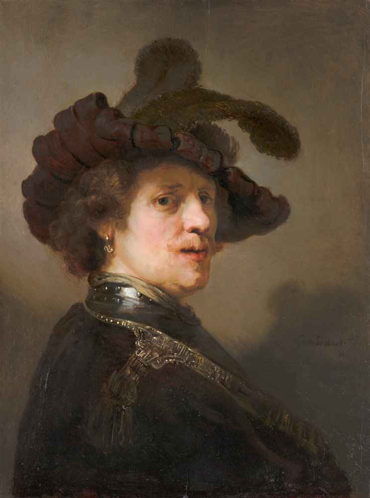 Tronie of a Man with a Feathered Beret - Rembrandt Harmenszoon van Rijn