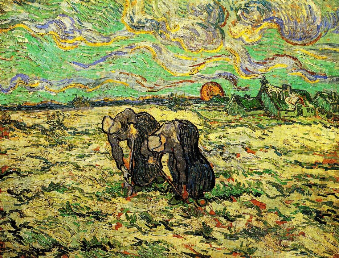 Two Peasant Women Digging in Field with Snow - Van Gogh
