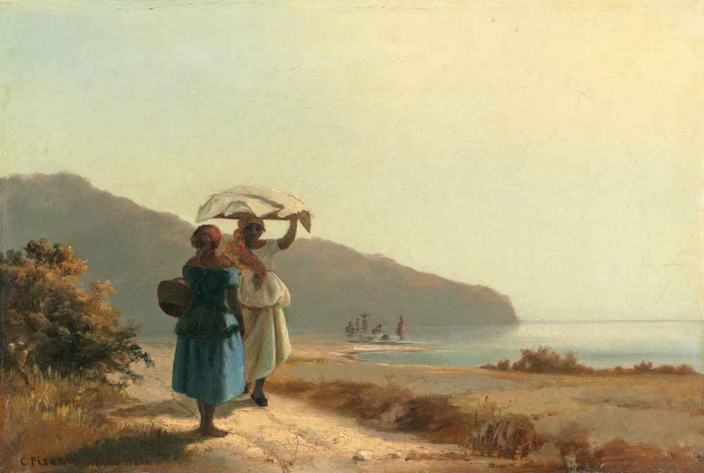 Two Women Chatting by the Sea, St. Thomas - Camille Pissarro