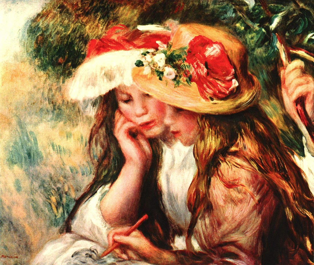 Two reading girls in a garden - Renoir