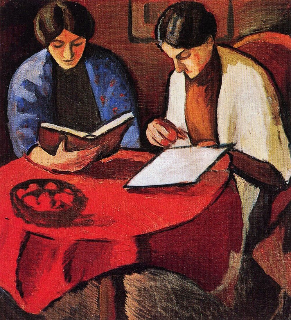 Two women at the table - August Macke