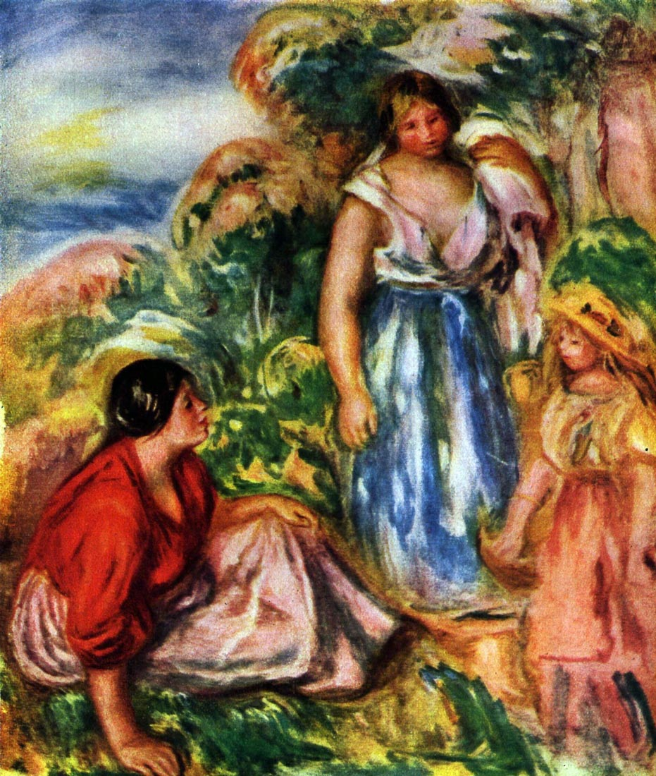 Two women with young girls in a landscape - Renoir