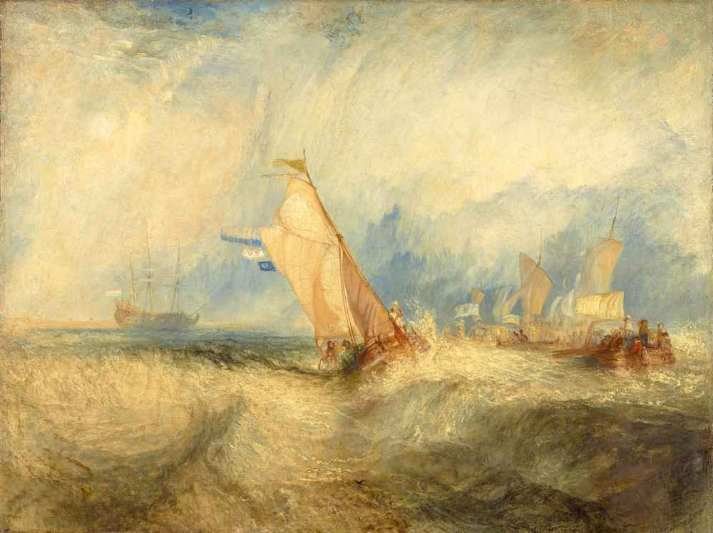 Van Tromp, going about to please his Masters, Ships a Sea, getting a G