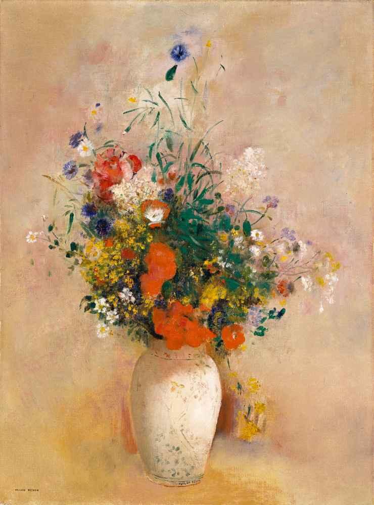 Vase of Flowers (Pink Background) - Odilon Redon