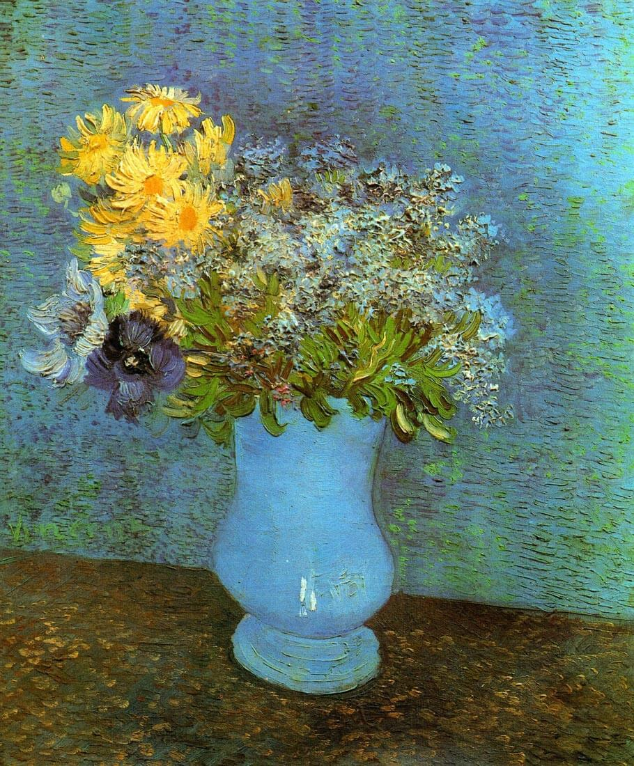 Vase with lilacs daisies and anemones - Van Gogh