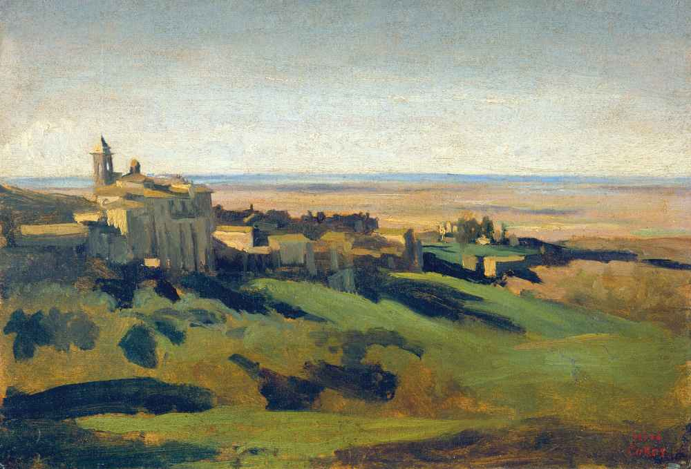 View of Marino in the Alban Mountains in the Early Morning - Jean Bapt
