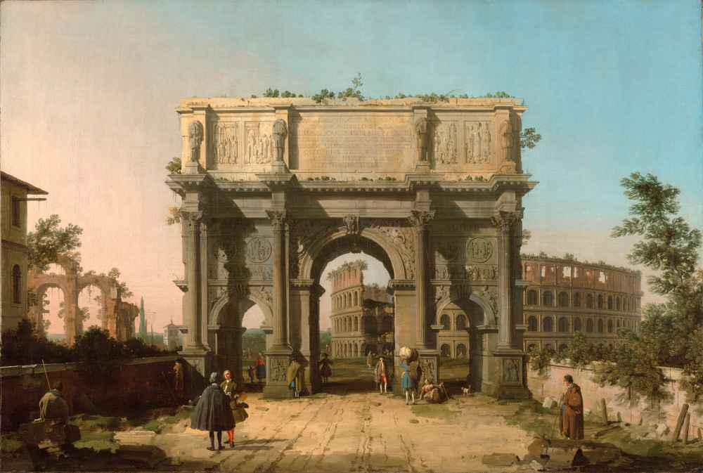 View of the Arch of Constantine with the Colosseum 2 - Canaletto - Ber