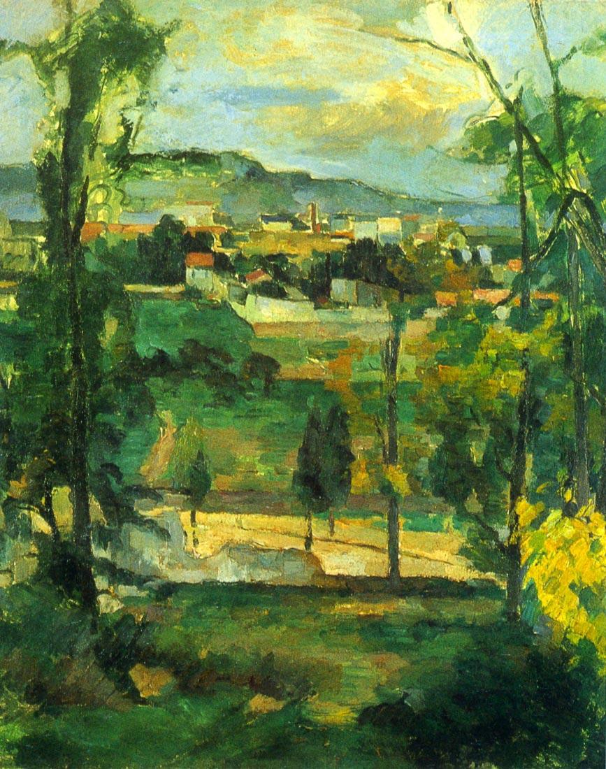 Village behind the trees, Ile de France - Cezanne