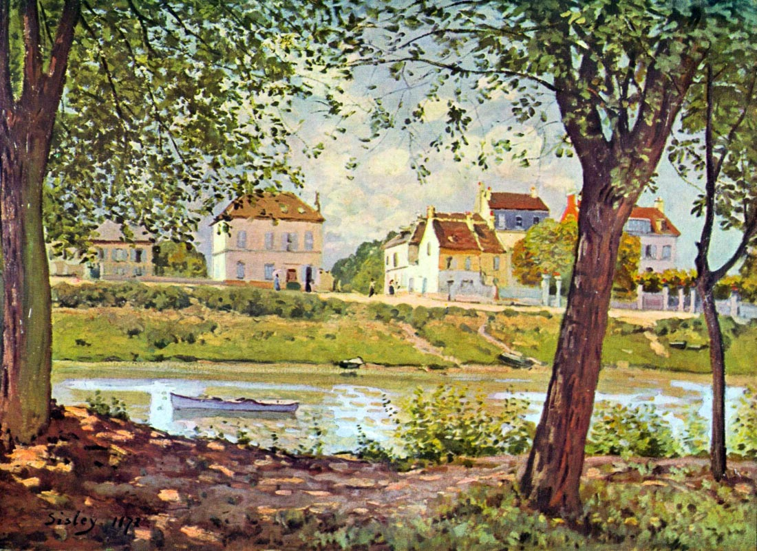 Village on the banks of the Seine - Sisley