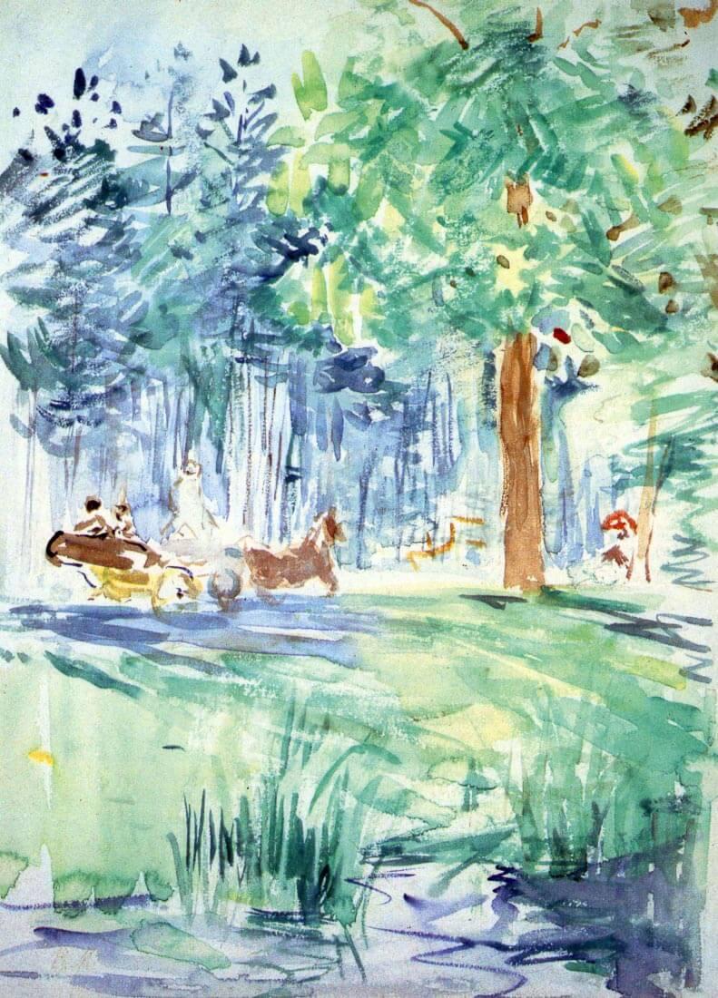 Wagon at the Bois de Boulogne, Allee des Poteaux - Morisot