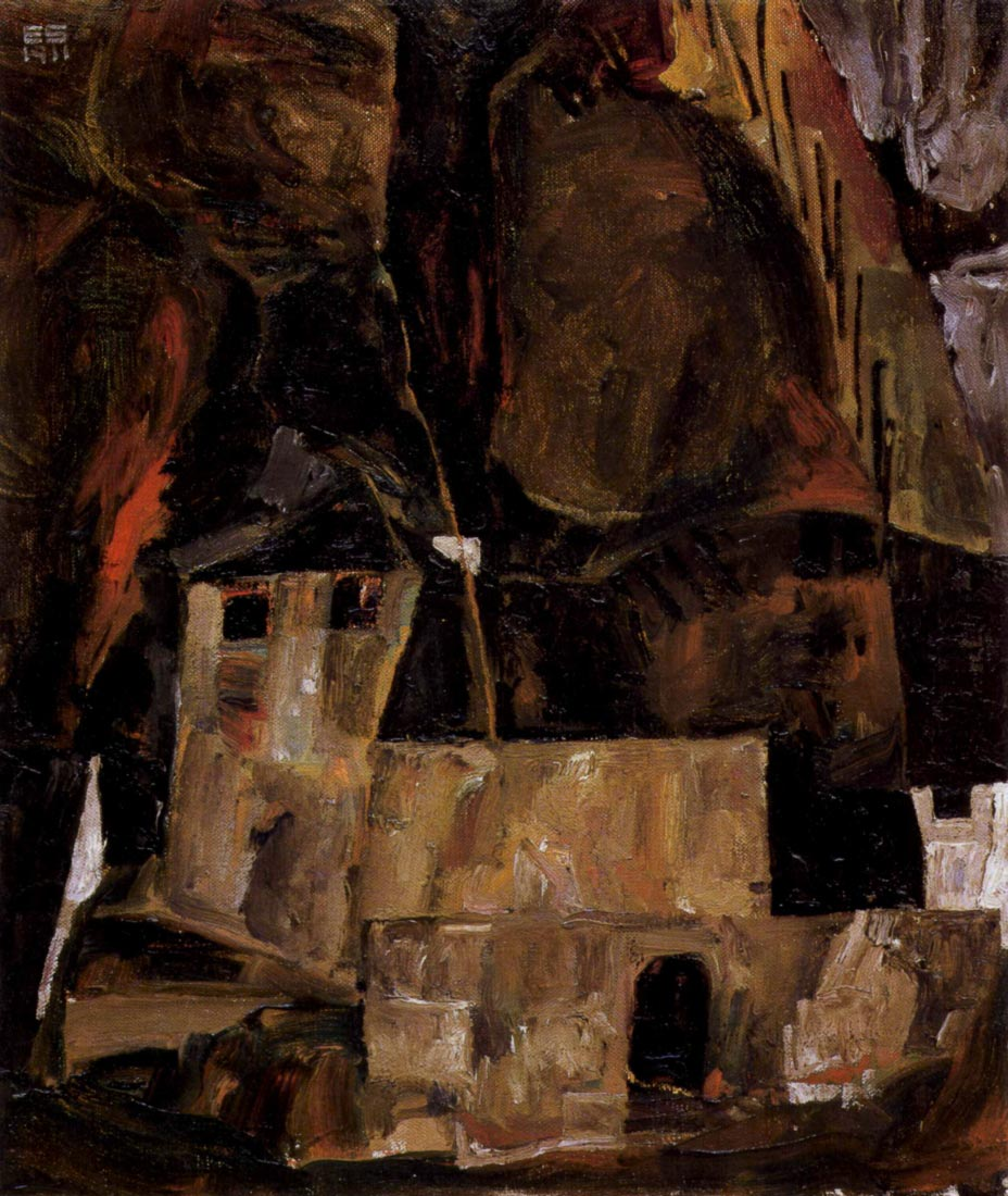 Wall and house and terrain with fence - Schiele