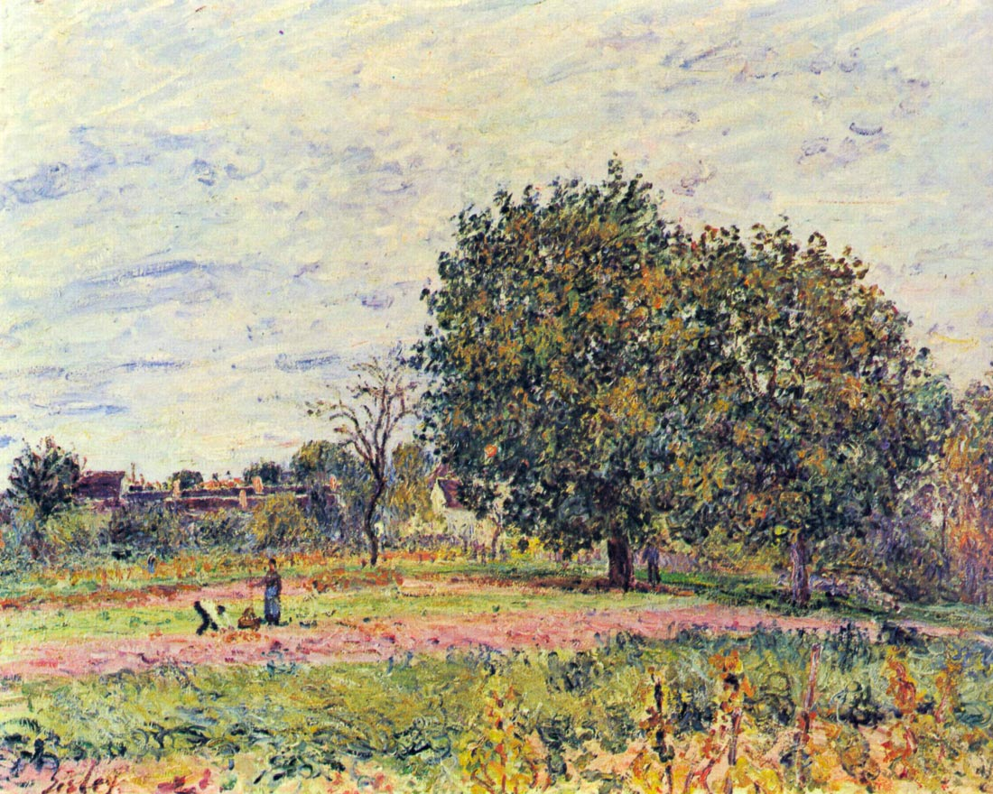 Walnut trees in the sun, in early October - Sisley