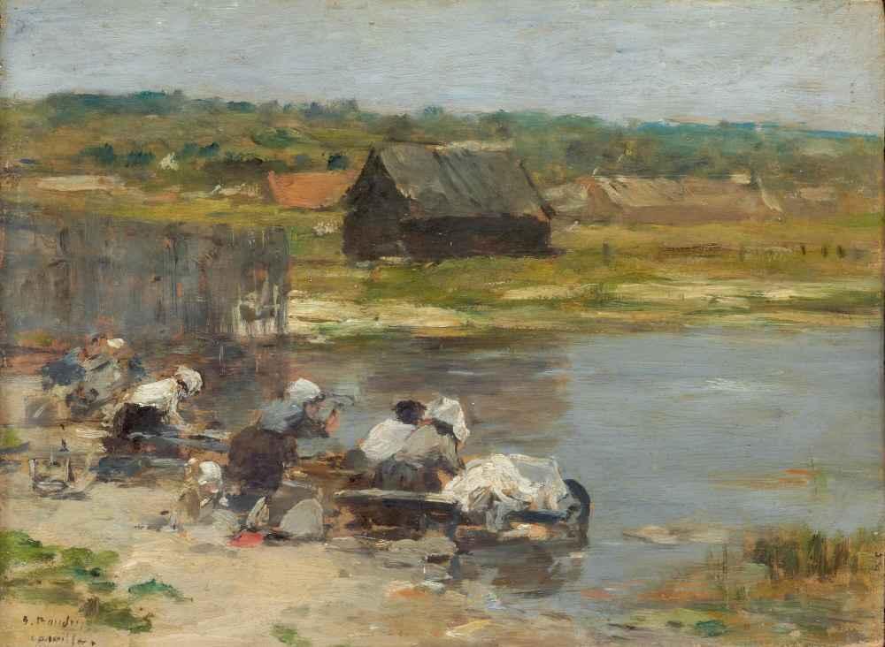 Washerwomen at the Edge of the Pond - Eugene Boudin