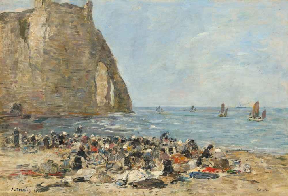 Washerwomen on the Beach of Etretat, 1894 - Eugene Boudin