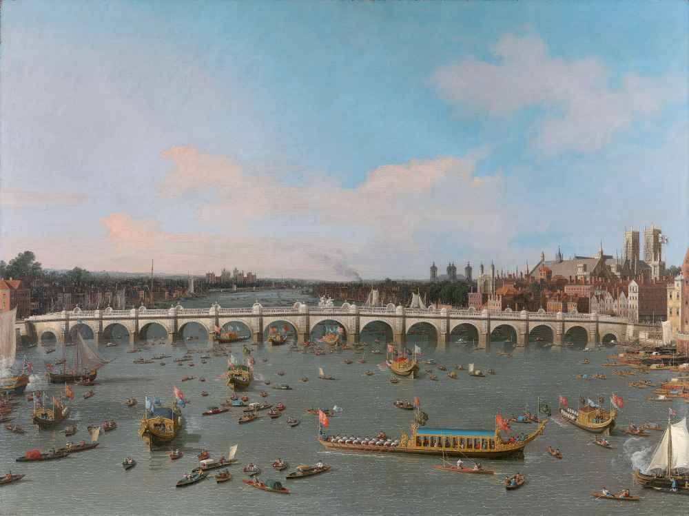 Westminster Bridge, with the Lord Mayors Procession on the Thames - Ca