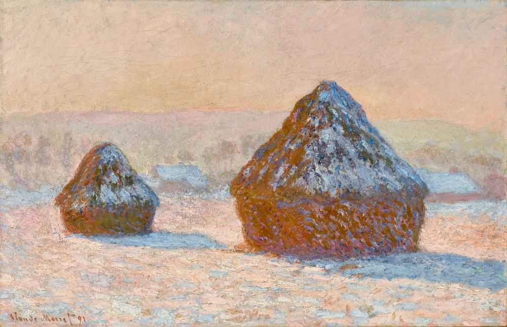 Wheatstacks, Snow Effect, Morning - Claude Monet