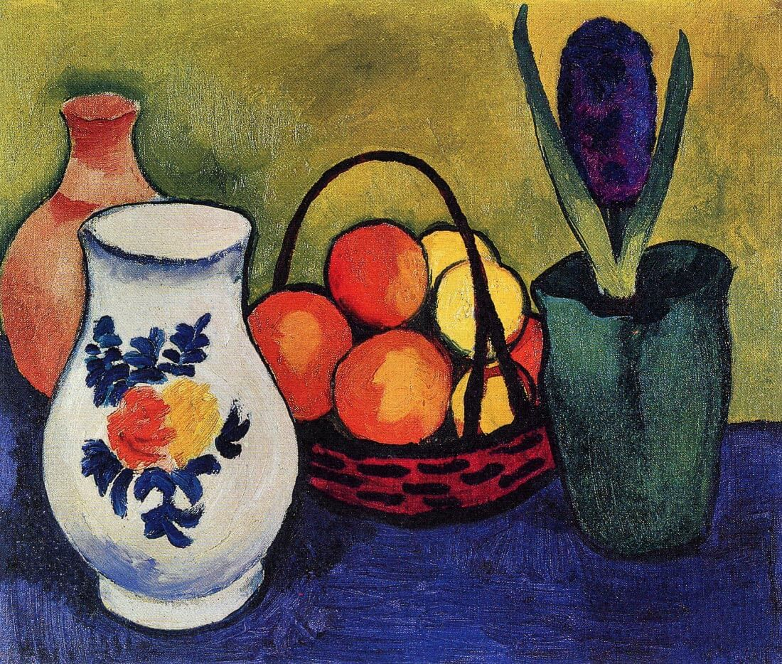 White jug with flowers and fruits - August Macke