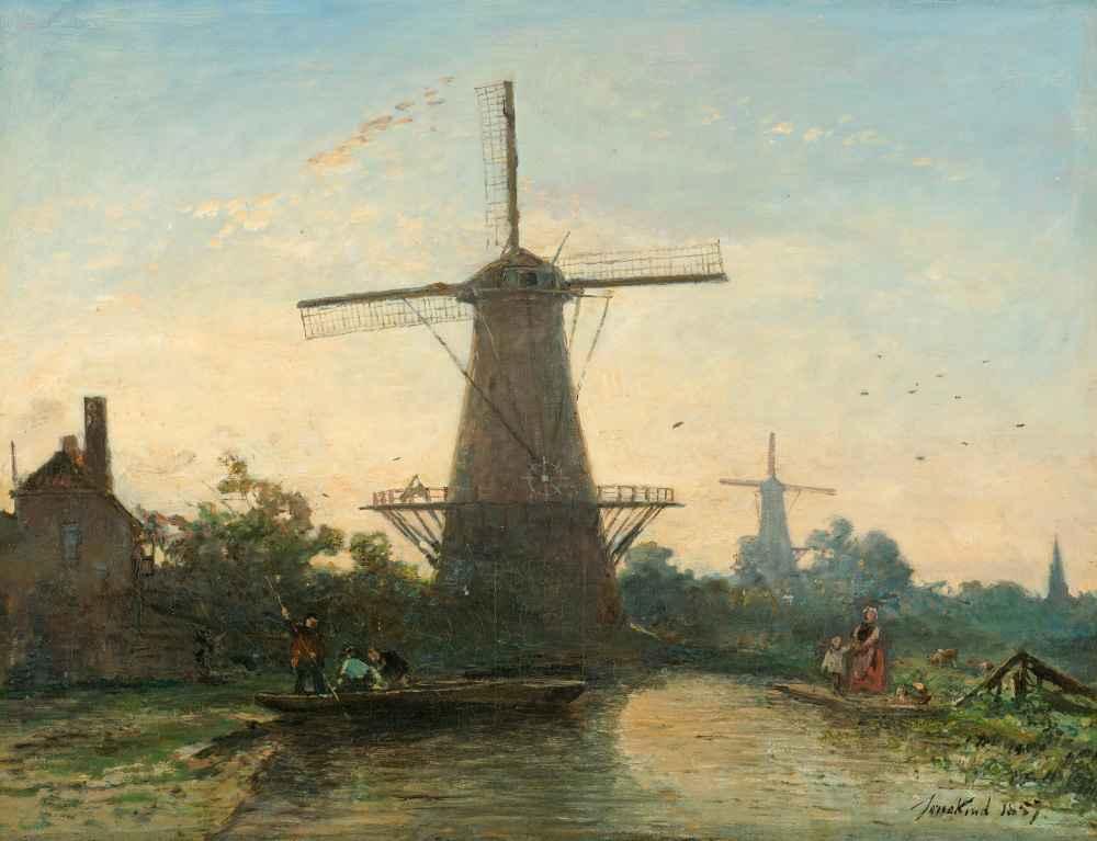Windmills near Rotterdam - Johan Barthold Jongkind