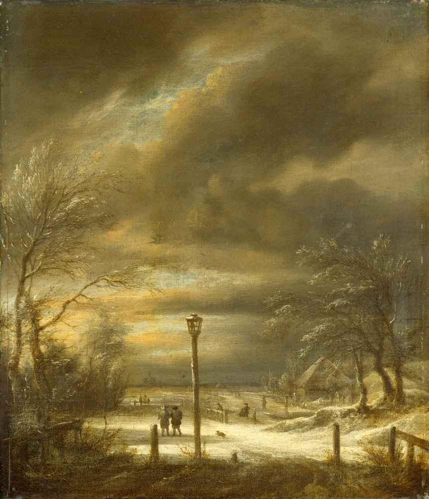 Winter Landscape near Haarlem with a Lamppost - Jacob van Ruisdael