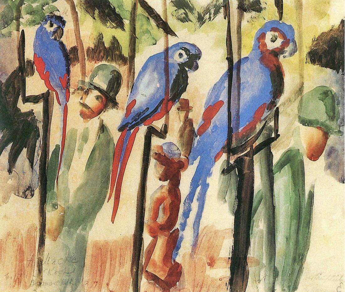 With the Parrots I - August Macke